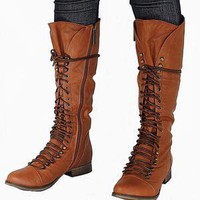 New Womens BG25 Tan Combat Military Knee High Lace Up Boots USA Sz 5.5 to 11