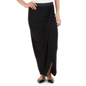Living Doll Juniors Solid Drape Maxi Skirt at Von Maur