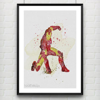 Iron Man Watercolor Art Poster Print, Marvel Superhero, Wall Art, Home Decor, Boy's Gift, Not Framed, Buy 2 Get 1 Free! [No. 68]