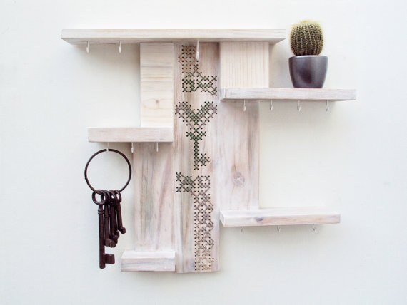 Shelf key holder organizer cross stitch from stedi on etsy for Contemporary home decor items