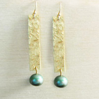 Green Freshwater Pearl Hand Hammered 14K Gold Filled Earrings Rectangle Dangles
