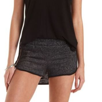 Piped French Terry Dolphin Shorts by Charlotte Russe - Charcoal Combo