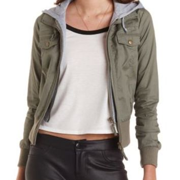 Hooded & Layered Bomber Jacket by Charlotte Russe - Olive Combo