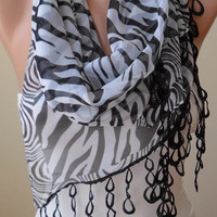 Zebra Print Elegant Scarf -  Silk - Chiffon Scarf with Black Trim Edge