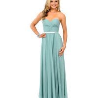Preorder -  Sage Green Chiffon Strapless Sweetheart Corset Long Gown 2015 Prom Dresses