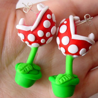Super Mario Piranha Plant Chomper Earrings
