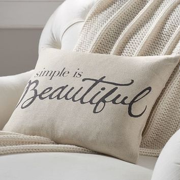 SIMPLE IS BEAUTIFUL PRINT PILLOW COVER