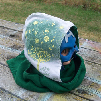 Upcycled Big on Green Shirt Fleece Hooded Scarf Scoodie Go Green