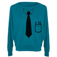 Womens BUSINESS TIE Tri-Blend Pullover - American Apparel - S M and L (8 Color Options)