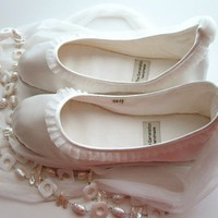 Eco-chic Handmade Vegan Bridal Ballet Flats with Tulle Trim - 902M (satin)