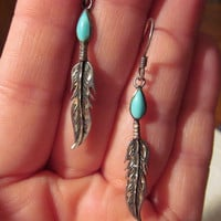 Vintage Sterling FEATHER TURQUOISE Earrings