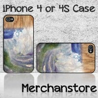 Unique Wood Blue Ocean Custom iPhone 4 or 4S Case Cover