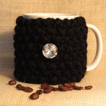 Coffee Mug Cozy, Black Wool Blend, Handmade