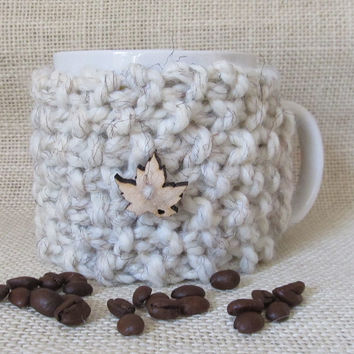 Coffee Mug Cozy, Wheat Wool Blend, Handmade