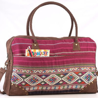 Large Tribal Woven Overnight bag Traditional Needlework Weekender bag, Suitcase, Travel bag