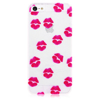 Lips Transparent Hard Back Cove Case for iPhone 5 & 5S - Magenta