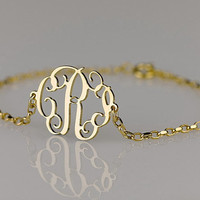 Monogram Bracelet 0.6 inch , Side attached on 18k Gold Plated over Sterling Silver