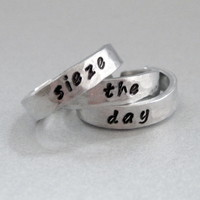 Sieze The Day - SET OF THREE Hand Stamped and Hammered Aluminum Stacking Rings - Customizable