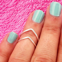Our Popular 2 Chevron Above The Knuckle Ring - Silver Chevron Knuckle Rings - Set of 3 by Tiny Box -