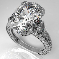 Engagement Ring - Large Oval Diamond Cathedral Graduated pave Engagement Ring 1.25 tcw. In Platinum - ES745PL