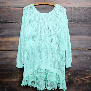 all eyes on me lace trim sweater tunic - mint