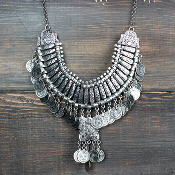 antique silver turkish coin necklace bib - one size / antique silver