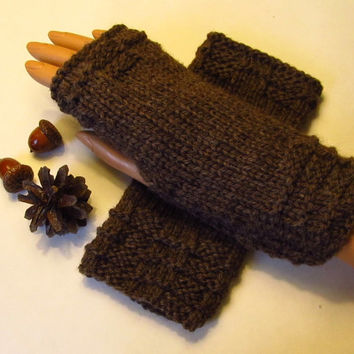 Natural Undyed Wool Fingerless Texting Mittens, Gloves, Color is Coffee, Handmade