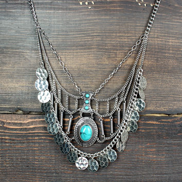 bohemian silver & turquoise necklace - Default Title / silver