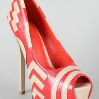 Maxs-03 Two Tone Peep Toe Platform Pump