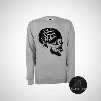 RUBIK'S SKULL - Screen printed Fleece Crewneck Pullover Sweatshirt - Unisex - Gray