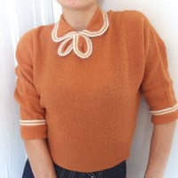 Vintage 1940 1950 Pin-up pumpkin rust sweater cardigan with angora double collar  TOBI BERMAN designer