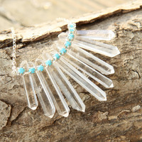 Tribal Crystal Fringe Necklace by Prairieoats