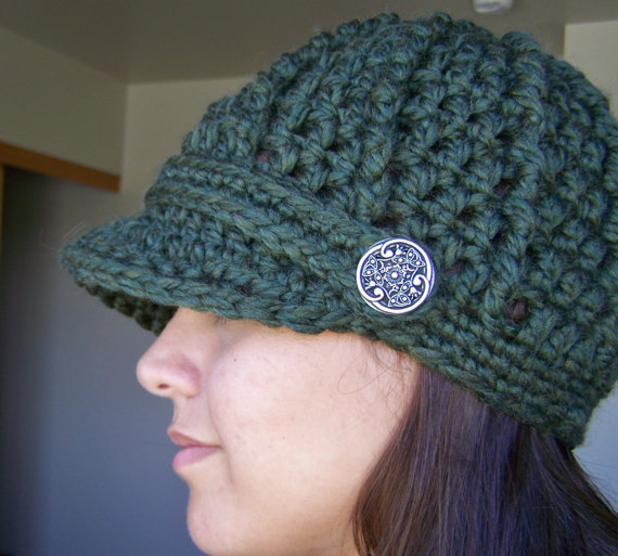 Crochet Newsboy Hat with Buttons- Moss from SoLaynaInspirations