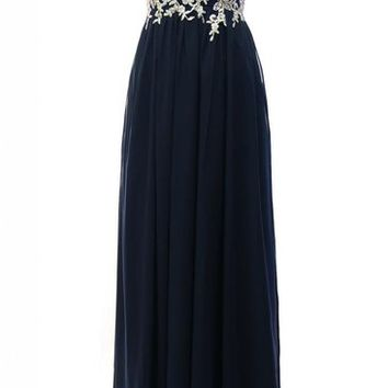 Kamilione Chiffon and Lace Sweetheart Neckline Bridesmaid Prom Dress