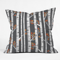 Lucie Rice Birches Be Crazy Throw Pillow - Indoor /