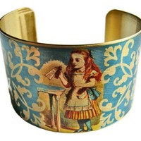 Alice in Wonderland Vintage Style Cuff Bracelet - Available in Brass or Steel - Ships 1/19