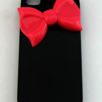 Black Iphone 4 Case With Pink Bow, Bow Iphone 4 Case, Iphone Case
