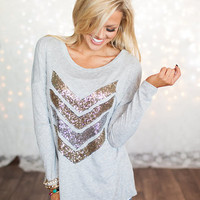 Hot Sparkly Chevron Tunic Heather Gray