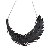 Feather Necklace, Black Leather Feather Jewelry, &quot;RAVEN&quot; Statement Necklace by Loveatfirstblush