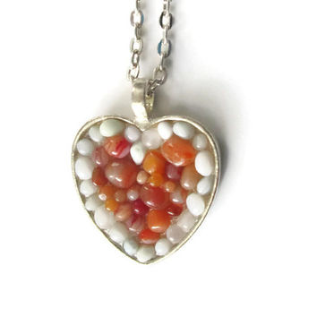 Mosaic Heart Pendant necklace with white and orange pebbles, hand made modern mosaic jewelry two tone jewelry