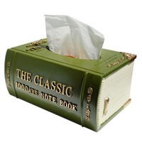 Elegant Antique Book Tissue Box Cover (Green)