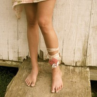 made to order funky eco Sweet Tattered Rosette Ankle by CreoleSha