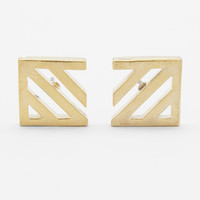 Gold Diagonal Outline Earring - One