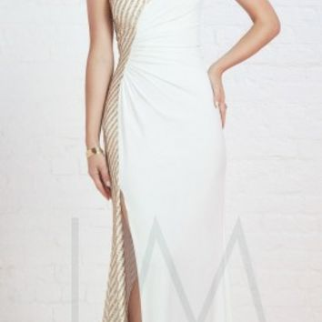 One shoulder knotted prom dresses by LM Collection