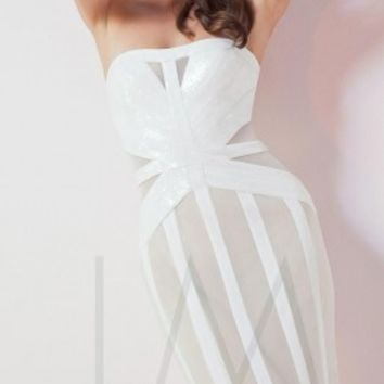 Sequin striped prom dresses by LM Collection