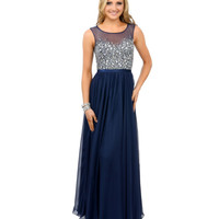 Navy Blue Crystal Beaded Sleeveless Chiffon Long Dress Prom 2015
