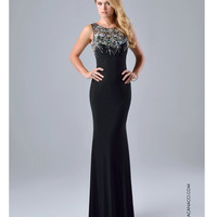 Preorder - Nina Canacci 8038 Fitted Black Embellished Gown 2015 Prom Dresses