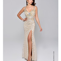 Preorder - Nina Canacci 8043 Gold Sequin High Slit Gown 2015 Prom Dresses