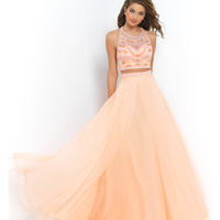 Blush Prom Cantaloupe Orange Two Piece Beaded Crop Top & Long Skirt Prom 2015