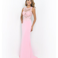 Blush Prom Carnation Pink Sheer Illusion Beaded Lace Open Back Gown Prom 2015